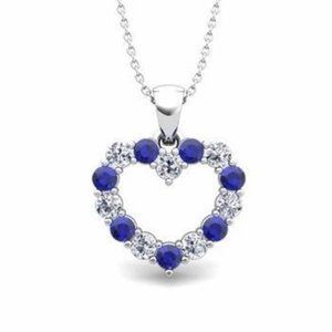 Jewelry - Ceylon Sapphire Diamond Heart Shape Pendant Gold